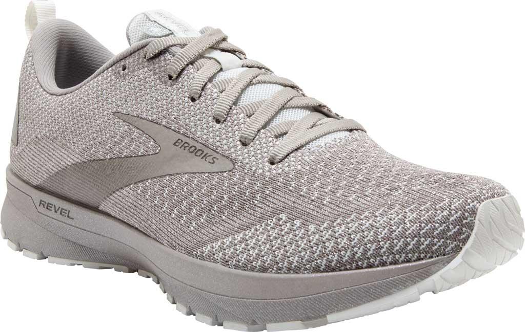 Women's Brooks Revel 4 Running Shoe, White/Paloma/Silver, large, image 1