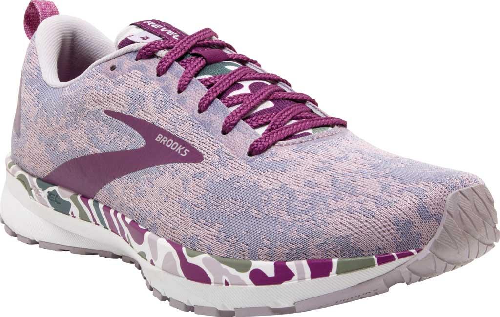 Women's Brooks Revel 4 Running Shoe, White/Wood Violet/Iris, large, image 1