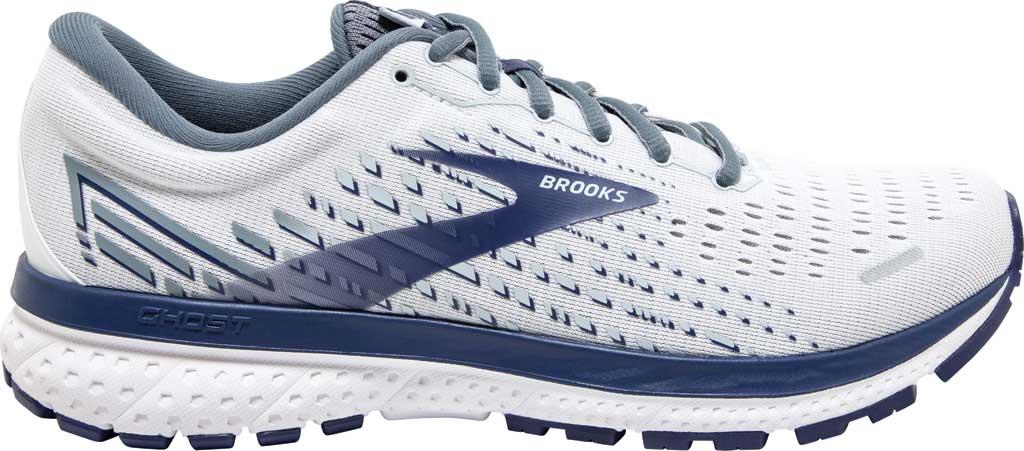 Men's Brooks Ghost 13 Running Shoe, White/Grey/Deep Cobalt, large, image 2