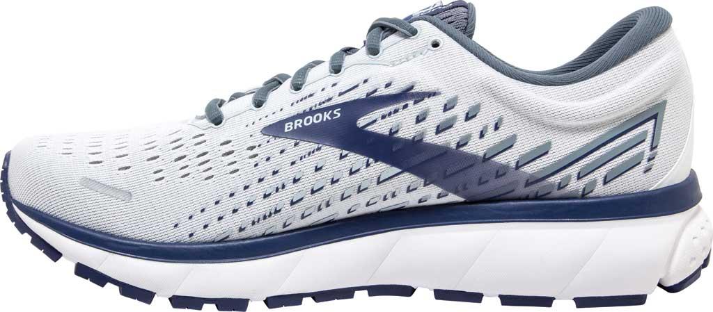 Men's Brooks Ghost 13 Running Shoe, White/Grey/Deep Cobalt, large, image 3