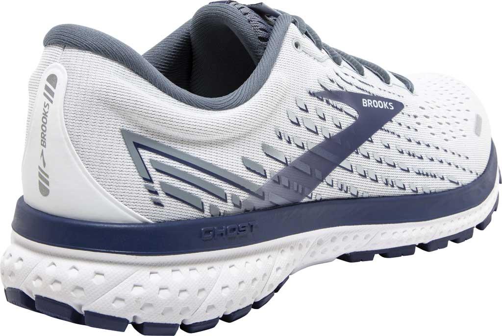 Men's Brooks Ghost 13 Running Shoe, White/Grey/Deep Cobalt, large, image 4