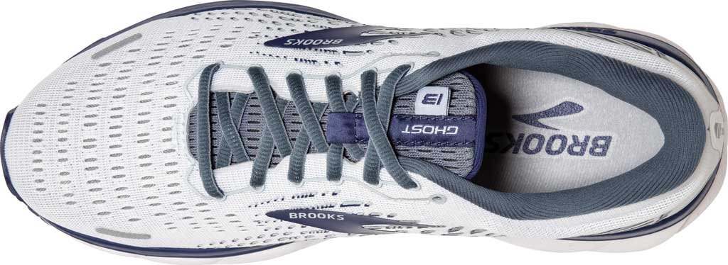 Men's Brooks Ghost 13 Running Shoe, White/Grey/Deep Cobalt, large, image 5