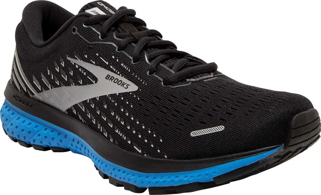 Men's Brooks Ghost 13 Running Shoe, Black/Grey/Blue, large, image 1