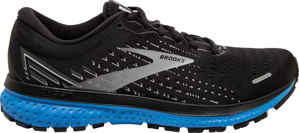 Men's Brooks Ghost 13 Running Shoe, Black/Grey/Blue, large, image 2