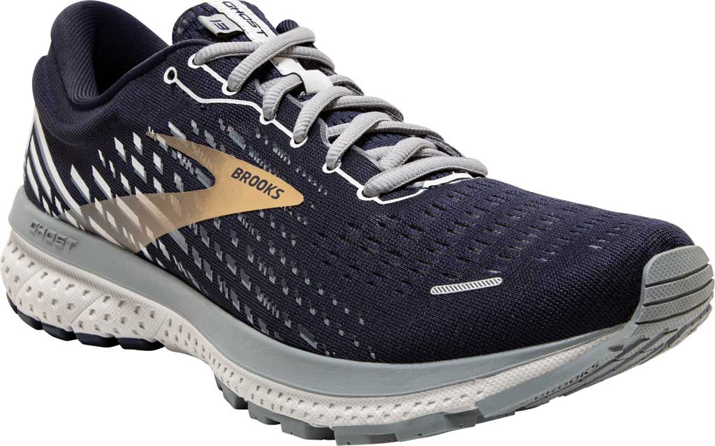 Men's Brooks Ghost 13 Running Shoe, Peacoat/Grey/Gold, large, image 1