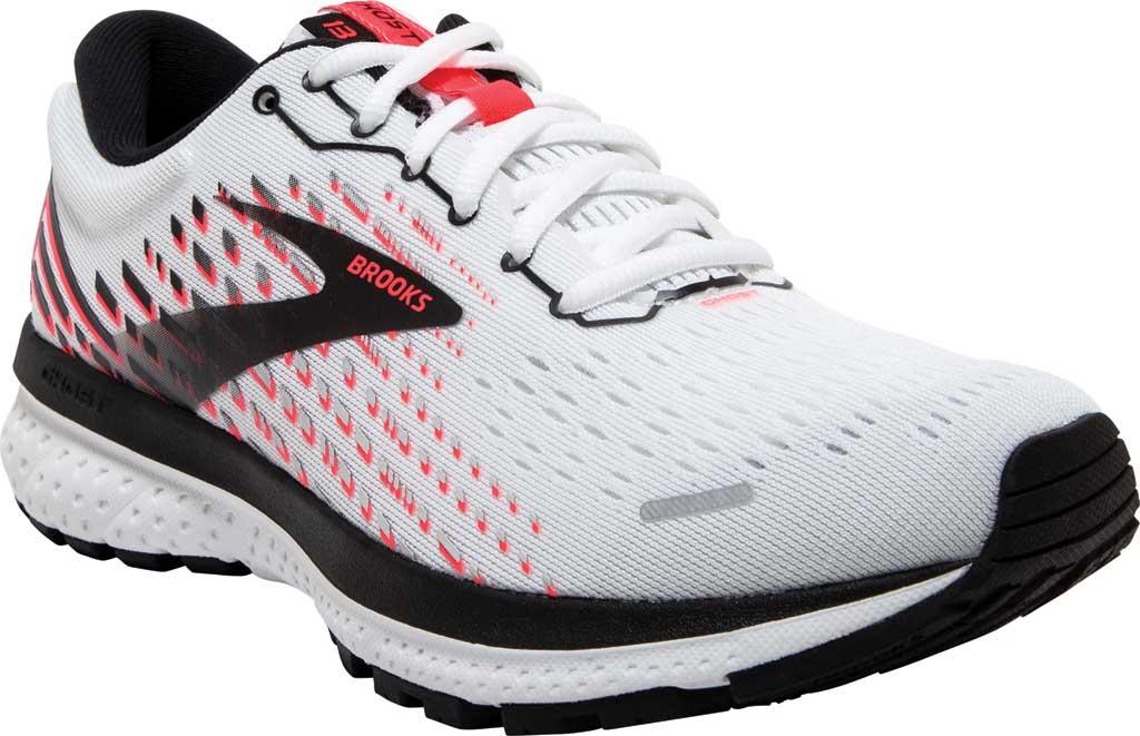 Women's Brooks Ghost 13 Running Shoe, White/Pink/Black, large, image 1