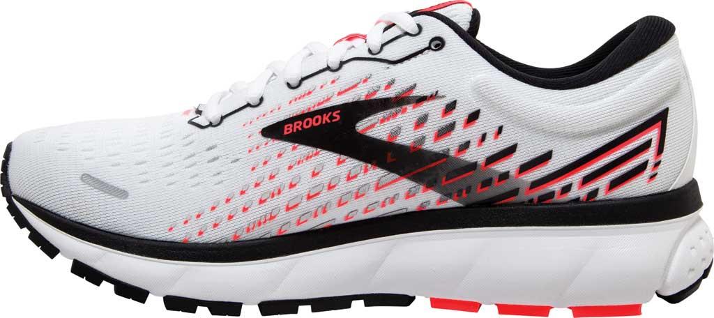 Women's Brooks Ghost 13 Running Shoe, White/Pink/Black, large, image 3