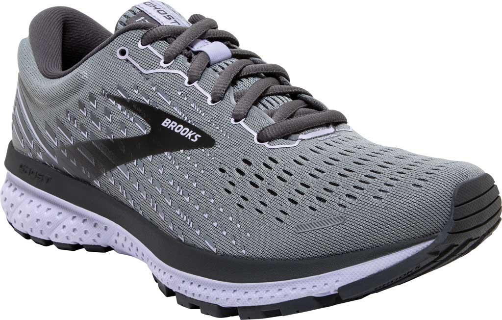 Women's Brooks Ghost 13 Running Shoe, Grey/Blackened Pearl/Purple, large, image 1