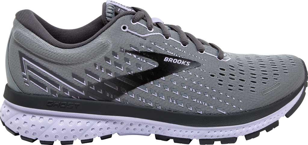 Women's Brooks Ghost 13 Running Shoe, Grey/Blackened Pearl/Purple, large, image 2
