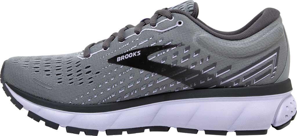 Women's Brooks Ghost 13 Running Shoe, Grey/Blackened Pearl/Purple, large, image 3