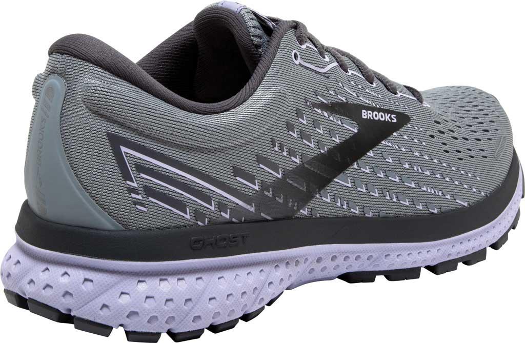Women's Brooks Ghost 13 Running Shoe, Grey/Blackened Pearl/Purple, large, image 4
