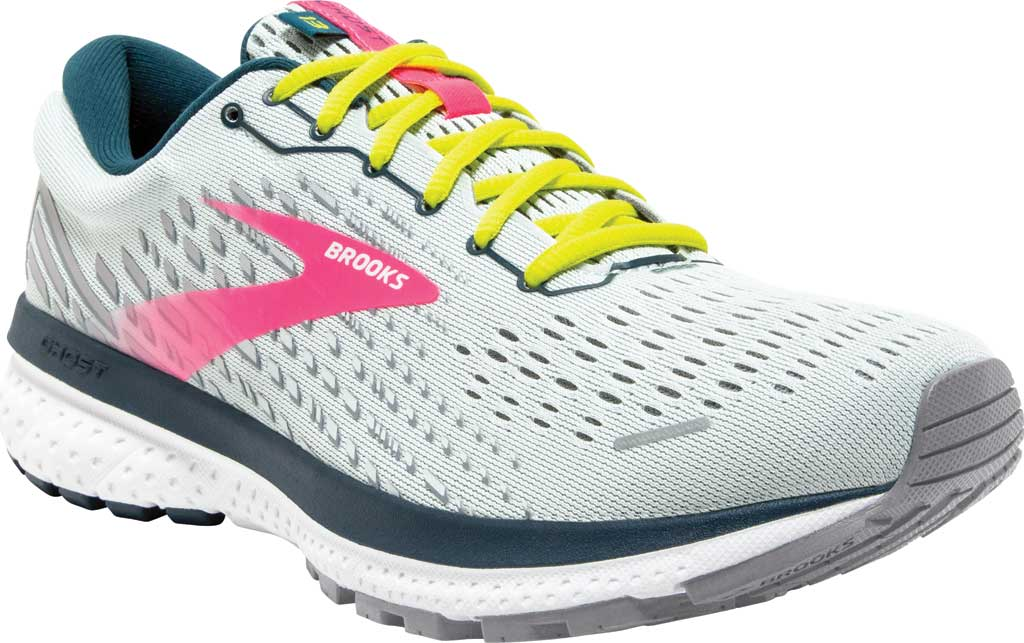 Women's Brooks Ghost 13 Running Shoe, Ice Flow/Pink/Pond, large, image 1