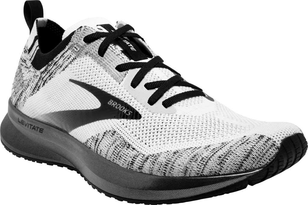 Women's Brooks Levitate 4 Running Shoe, White/Black, large, image 1