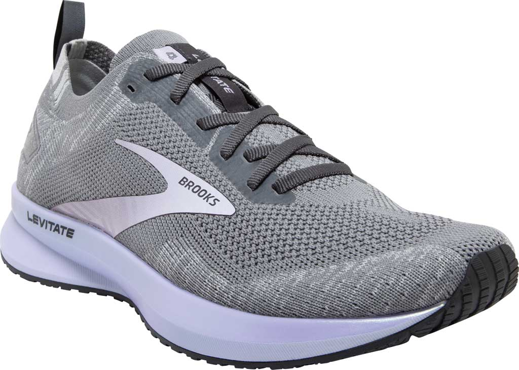 Women's Brooks Levitate 4 Running Shoe, Grey/Blackened Pearl/Purple, large, image 1