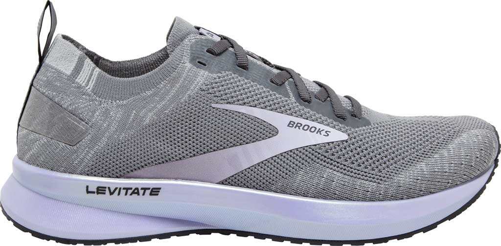 Women's Brooks Levitate 4 Running Shoe, Grey/Blackened Pearl/Purple, large, image 2