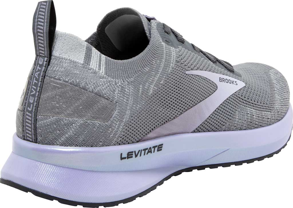 Women's Brooks Levitate 4 Running Shoe, Grey/Blackened Pearl/Purple, large, image 4