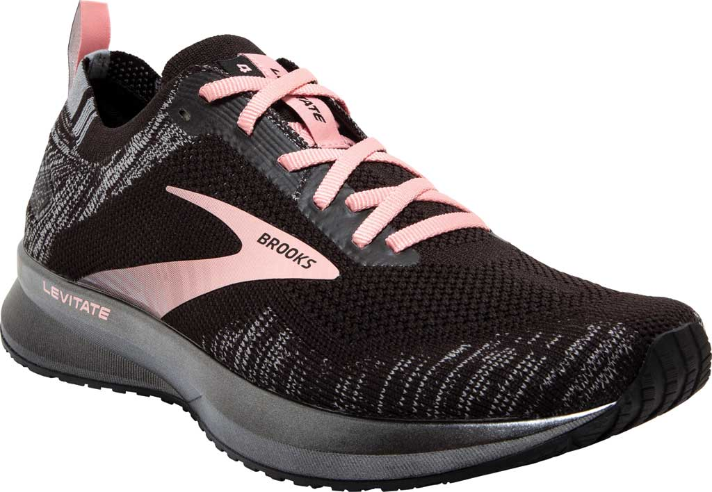 Women's Brooks Levitate 4 Running Shoe, Black/Grey/Coral Cloud, large, image 1