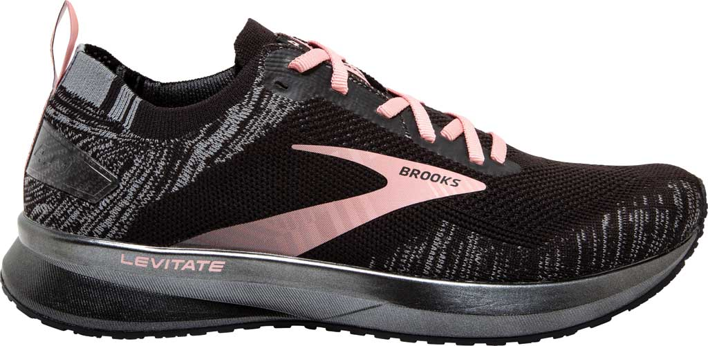 Women's Brooks Levitate 4 Running Shoe, Black/Grey/Coral Cloud, large, image 2