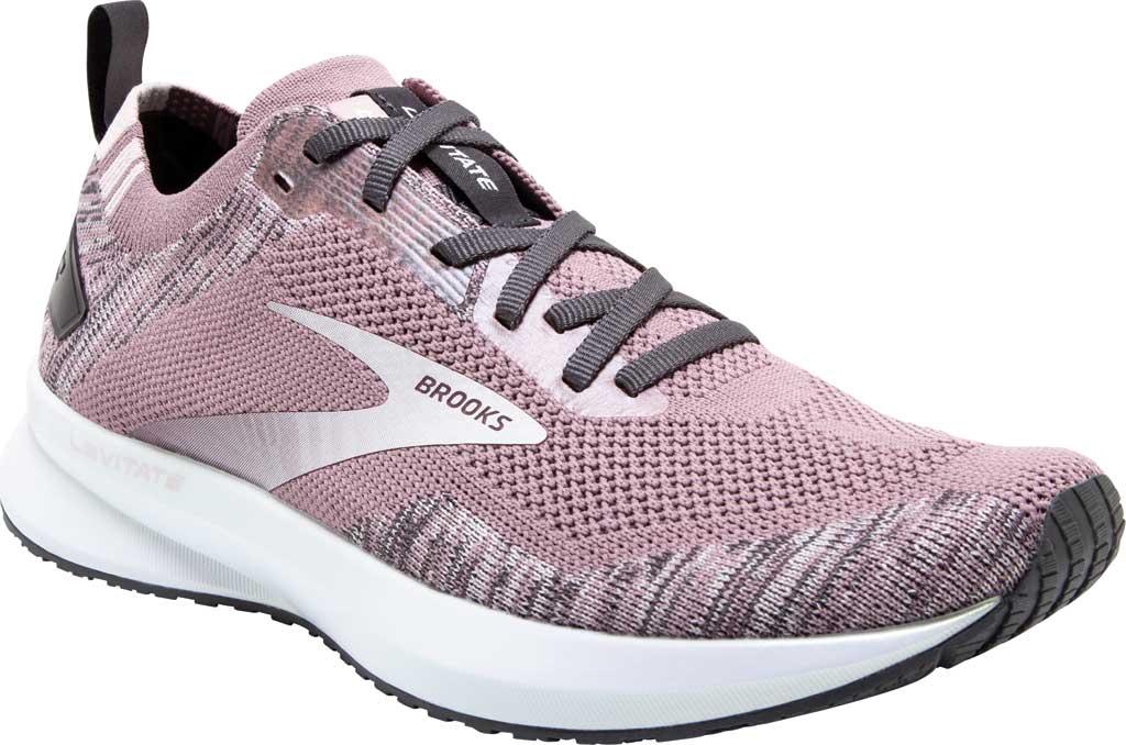Women's Brooks Levitate 4 Running Shoe, Blackened Pearl/Metallic/Primrose, large, image 1