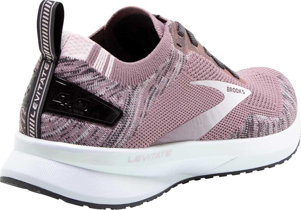 Women's Brooks Levitate 4 Running Shoe, Blackened Pearl/Metallic/Primrose, large, image 4