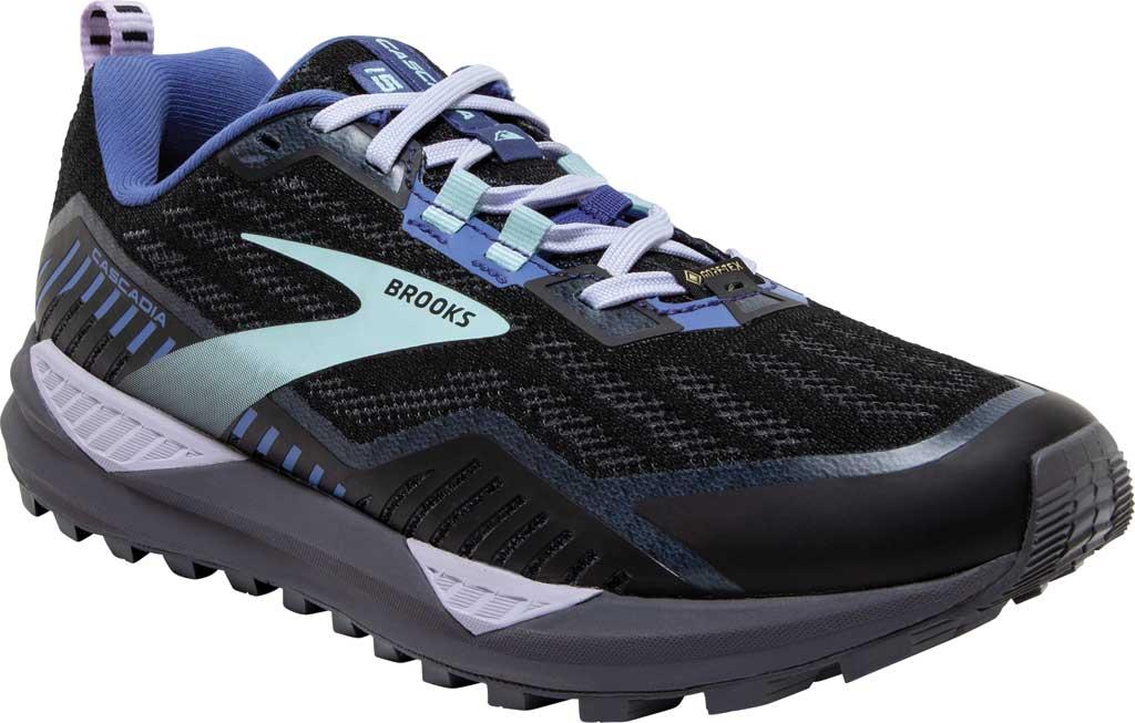 Women's Brooks Cascadia GORE-TEX 15 Trail Running Sneaker, Black/Marlin/Blue, large, image 1