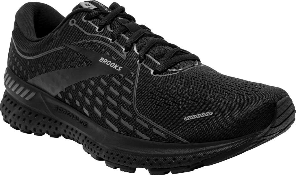 Men's Brooks Adrenaline GTS 21 Running Sneaker, Black/Black/Ebony, large, image 1