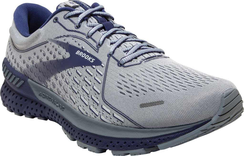Men's Brooks Adrenaline GTS 21 Running Sneaker, Grey/Tradewinds/Deep Cobalt, large, image 1