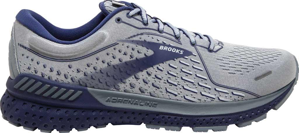 Men's Brooks Adrenaline GTS 21 Running Sneaker, Grey/Tradewinds/Deep Cobalt, large, image 2