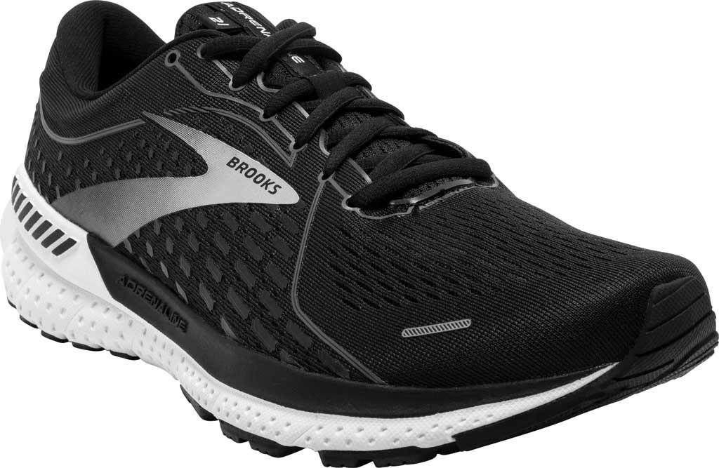 Men's Brooks Adrenaline GTS 21 Running Sneaker, Black Pearl/White, large, image 1
