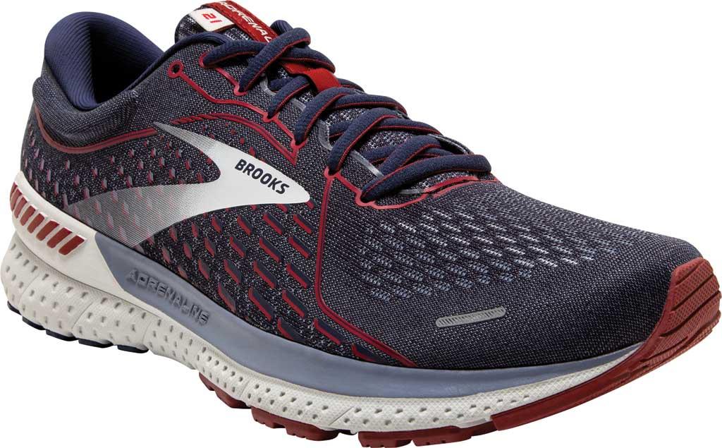 Men's Brooks Adrenaline GTS 21 Running Sneaker, Peacoat/Grey/Red, large, image 1