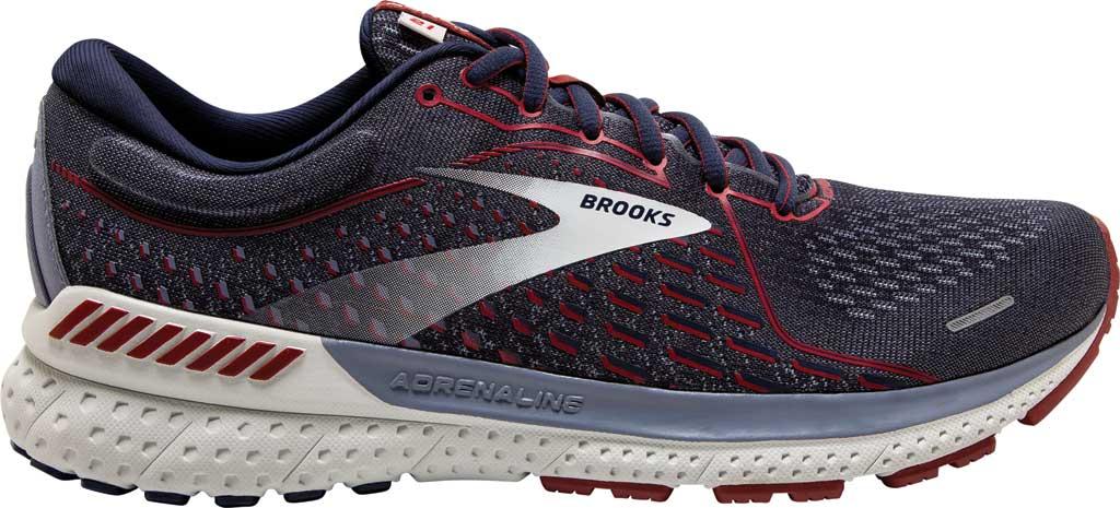 Men's Brooks Adrenaline GTS 21 Running Sneaker, Peacoat/Grey/Red, large, image 2