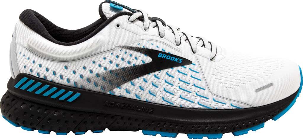 Men's Brooks Adrenaline GTS 21 Running Sneaker, White/Grey/Atomic Blue, large, image 2