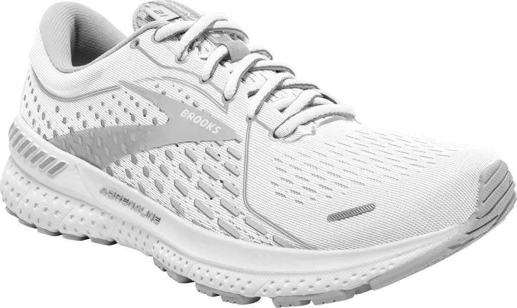 Women's Brooks Adrenaline GTS 21 Running Sneaker, White/Grey/Silver, large, image 1