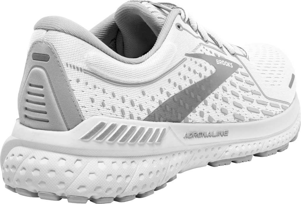 Women's Brooks Adrenaline GTS 21 Running Sneaker, White/Grey/Silver, large, image 3