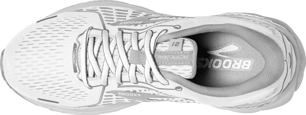 Women's Brooks Adrenaline GTS 21 Running Sneaker, White/Grey/Silver, large, image 4