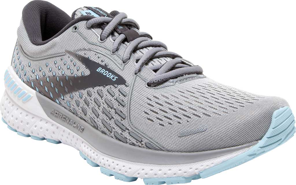Women's Brooks Adrenaline GTS 21 Running Sneaker, Oyster/Alloy/Light Blue, large, image 1