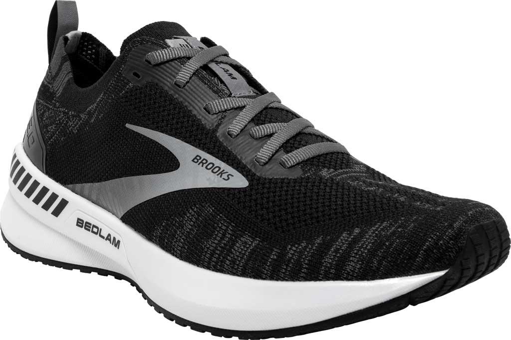 Women's Brooks Bedlam 3 Knit Running Sneaker, Black/Blackened Pearl/White, large, image 1
