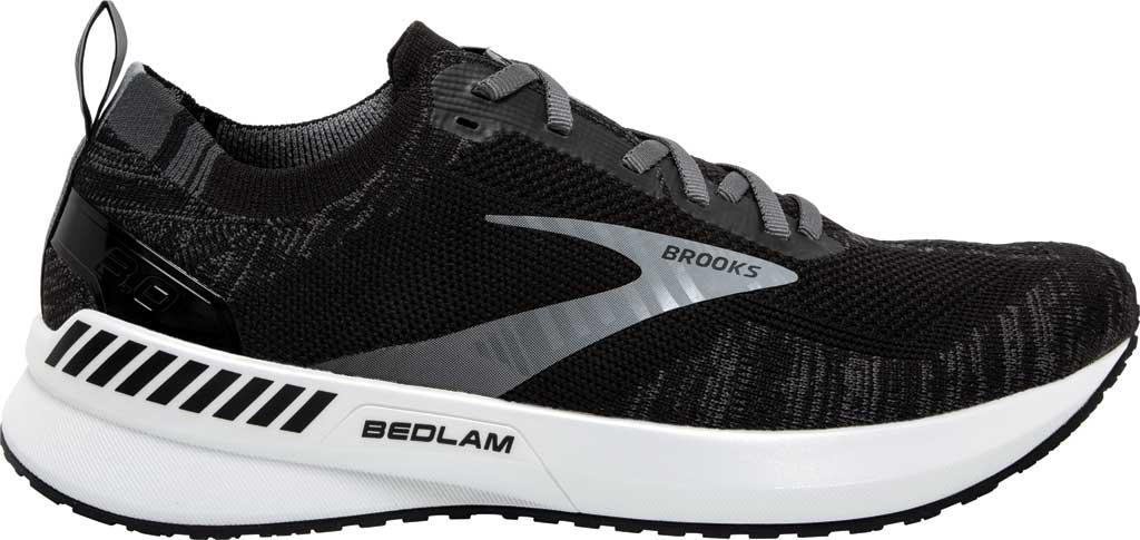 Women's Brooks Bedlam 3 Knit Running Sneaker, Black/Blackened Pearl/White, large, image 2