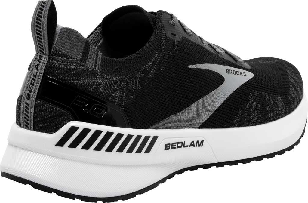Women's Brooks Bedlam 3 Knit Running Sneaker, Black/Blackened Pearl/White, large, image 4