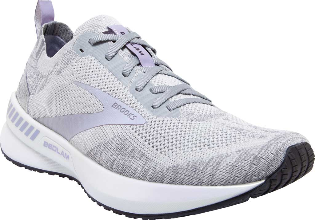 Women's Brooks Bedlam 3 Knit Running Sneaker, Oyster/Purple Heather/Grey, large, image 1