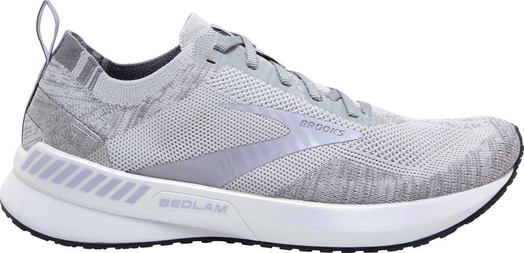 Women's Brooks Bedlam 3 Knit Running Sneaker, Oyster/Purple Heather/Grey, large, image 2