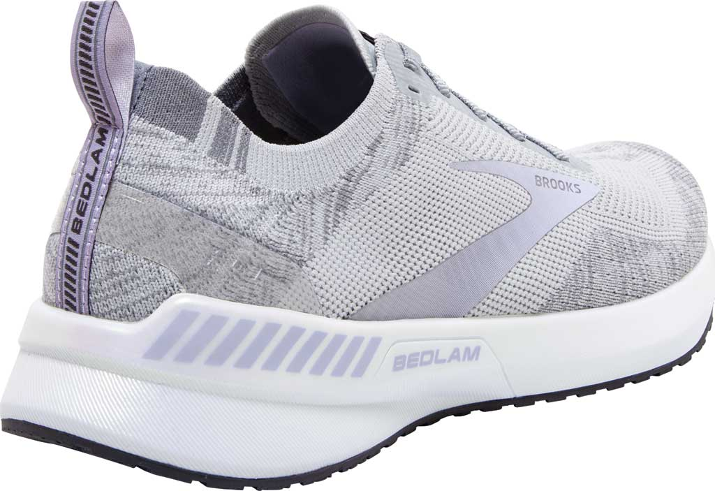 Women's Brooks Bedlam 3 Knit Running Sneaker, Oyster/Purple Heather/Grey, large, image 4