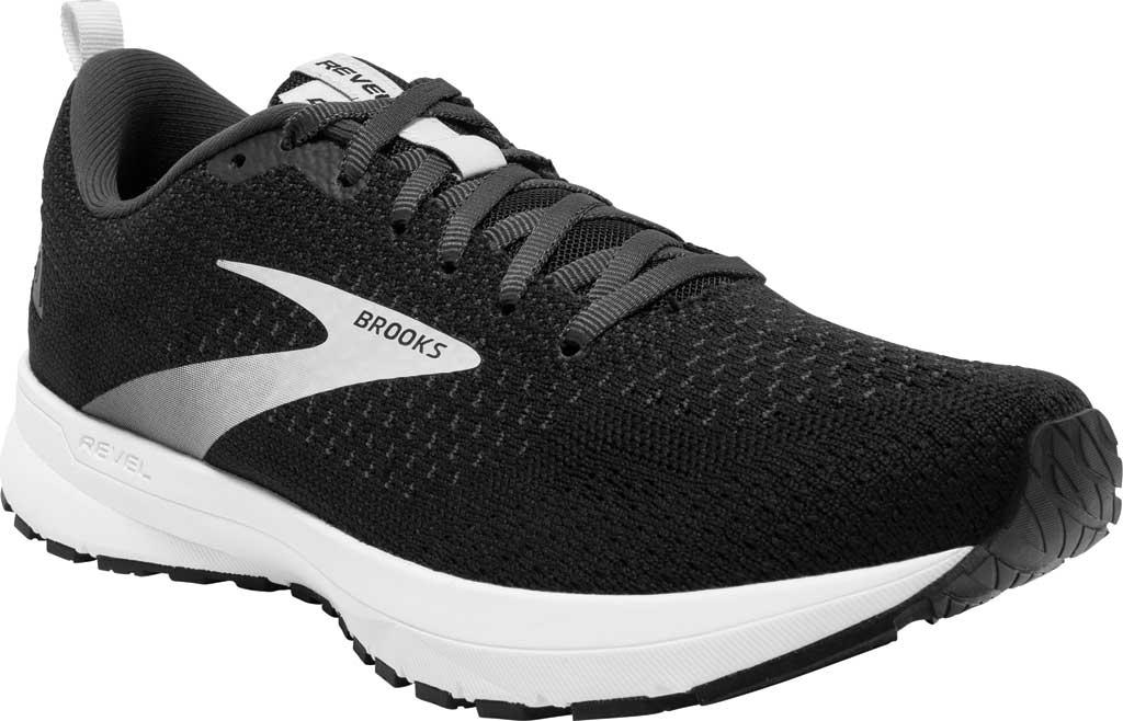 Men's Brooks Revel 4 Running Shoe, Black/Oyster/Silver, large, image 1