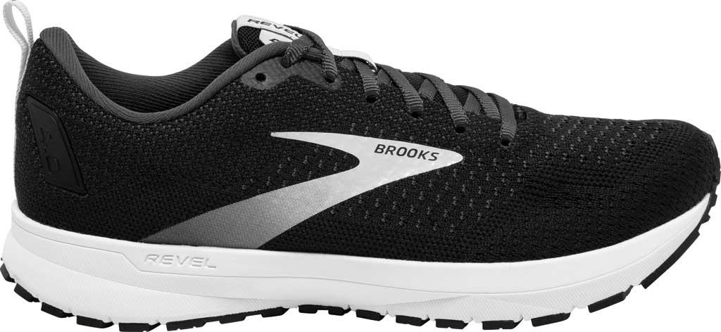 Men's Brooks Revel 4 Running Shoe, Black/Oyster/Silver, large, image 2