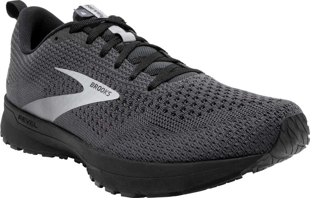 Men's Brooks Revel 4 Running Shoe, Ebony/Black/Grey, large, image 1