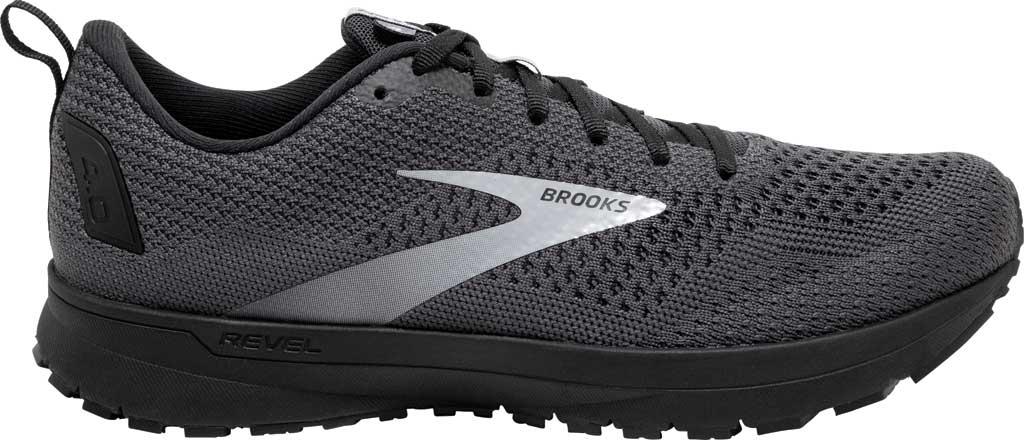 Men's Brooks Revel 4 Running Shoe, Ebony/Black/Grey, large, image 2