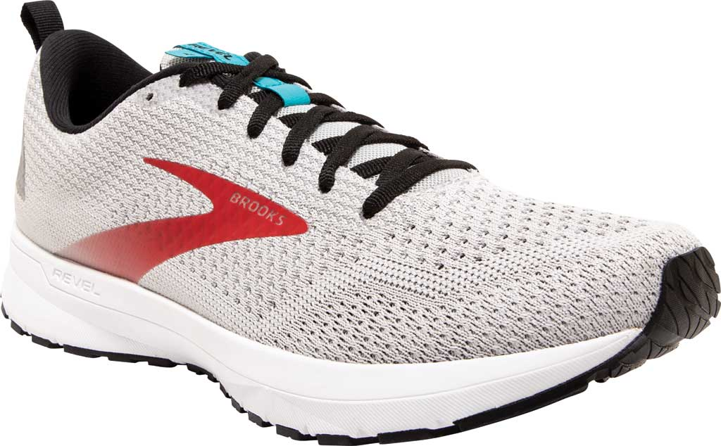 Men's Brooks Revel 4 Running Shoe, Grey/Black/Capri, large, image 1