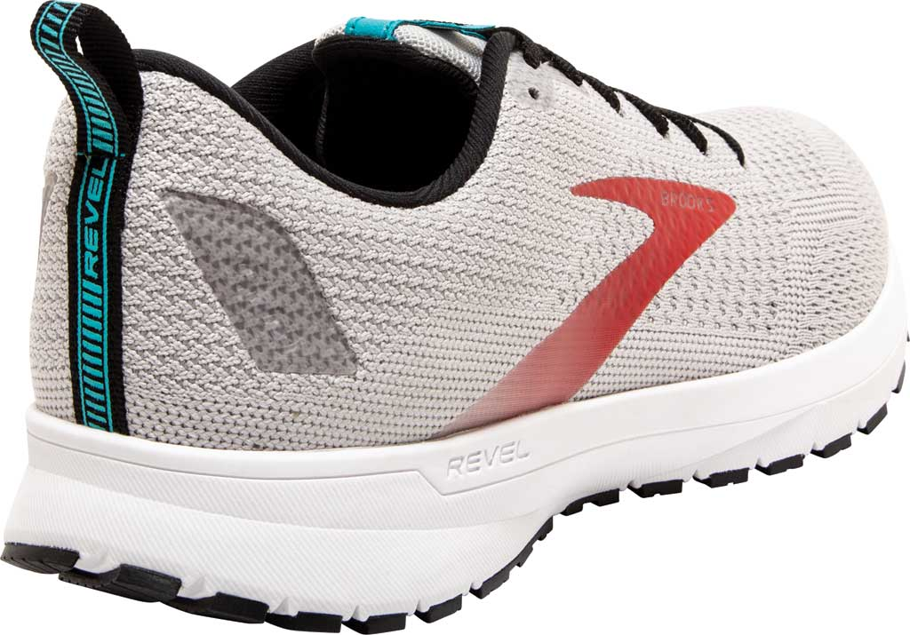 Men's Brooks Revel 4 Running Shoe, Grey/Black/Capri, large, image 4
