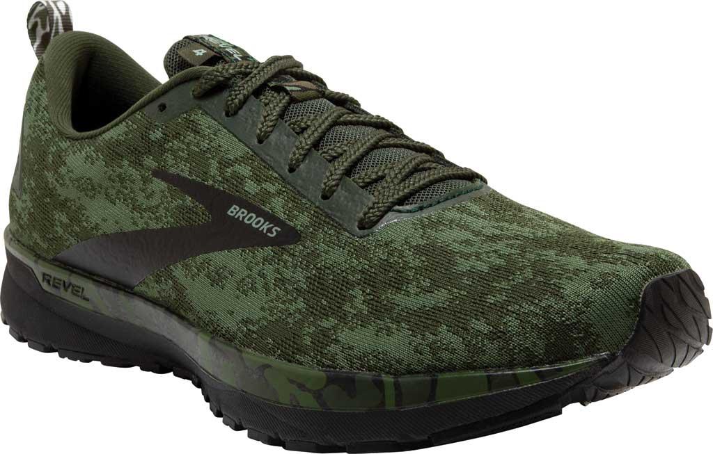 Men's Brooks Revel 4 Running Shoe, Bronze Green/Black/Green, large, image 1