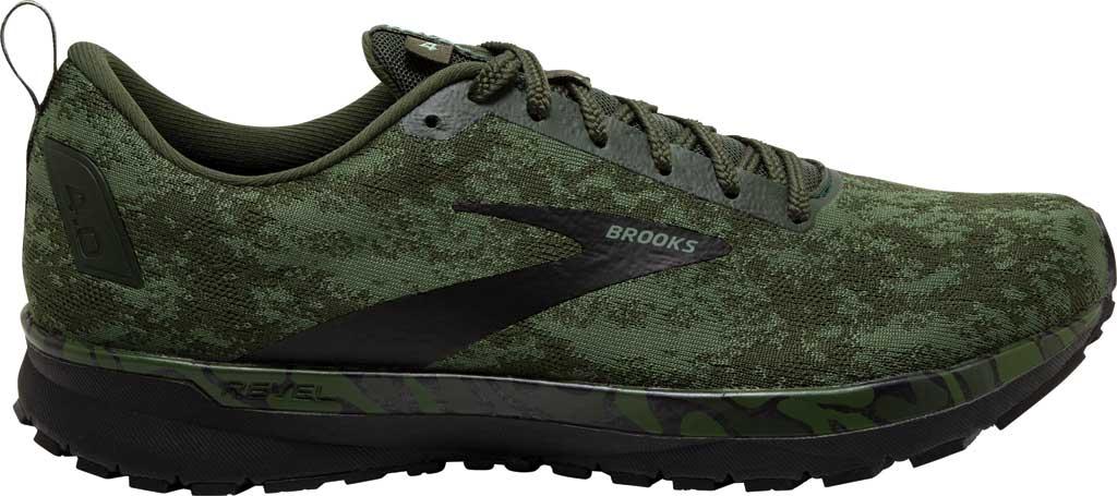Men's Brooks Revel 4 Running Shoe, Bronze Green/Black/Green, large, image 2